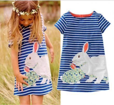 Cute Baby Kids Rabbit Striped Summer Dress