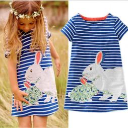 Cute Baby Kids Rabbit Striped Summer Dress