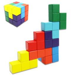 Multi-Color Wooden 3D Tetris Cubes