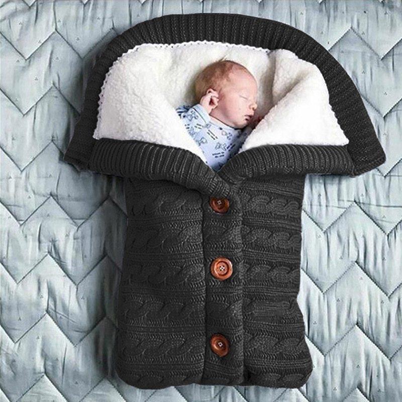 Extra Large Baby Winter Knit Swaddle Sleeping Bag Black