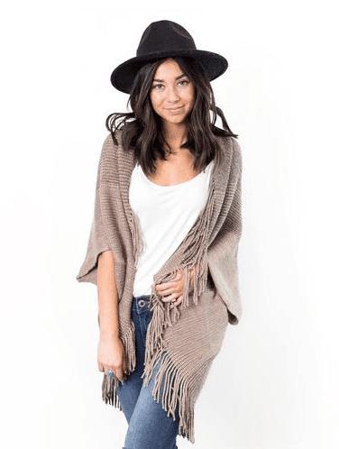 Gabrielle Fringe Kimono Shrug