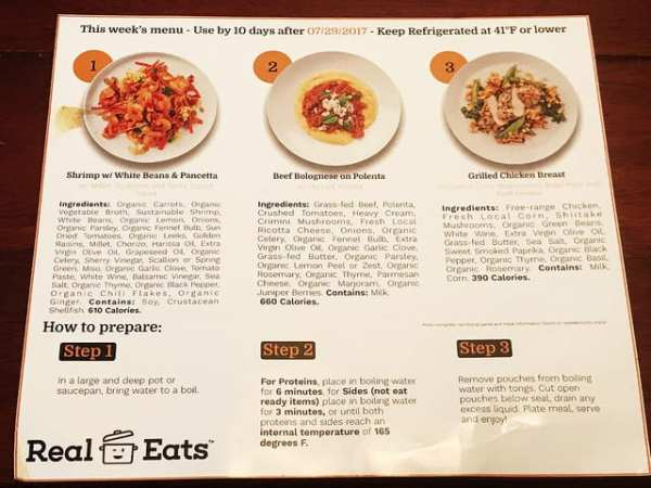 real eats meals sample menu