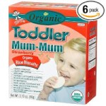 Organic Toddler Mum-Mum Stawberry Flavored Rice Biscuits, 24-Count Box(Pack of 6) – $11.05