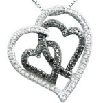 Lightning Deal: Sterling Silver Black and White Diamond Hearts Pendant