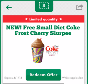 free small diet coke frost cherry slurpee
