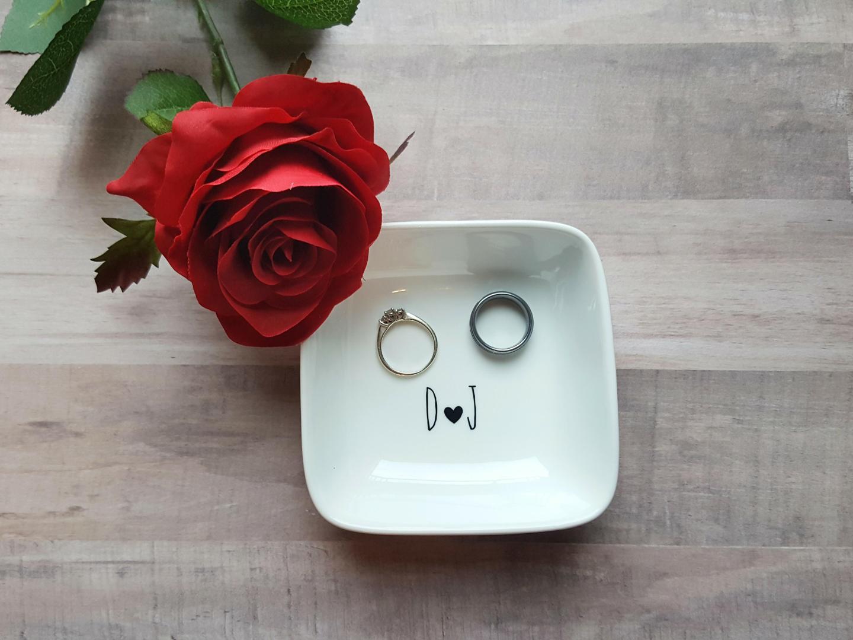 Simplistic Initial Wedding Ring Dish