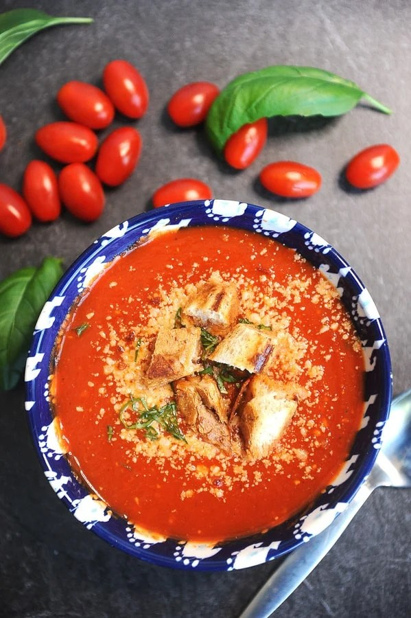 vegan friendly and healthy tomato soup that can be made in the instant pot or corckpot. Quick and from scratch, can be made with fresh or canned tomatoes