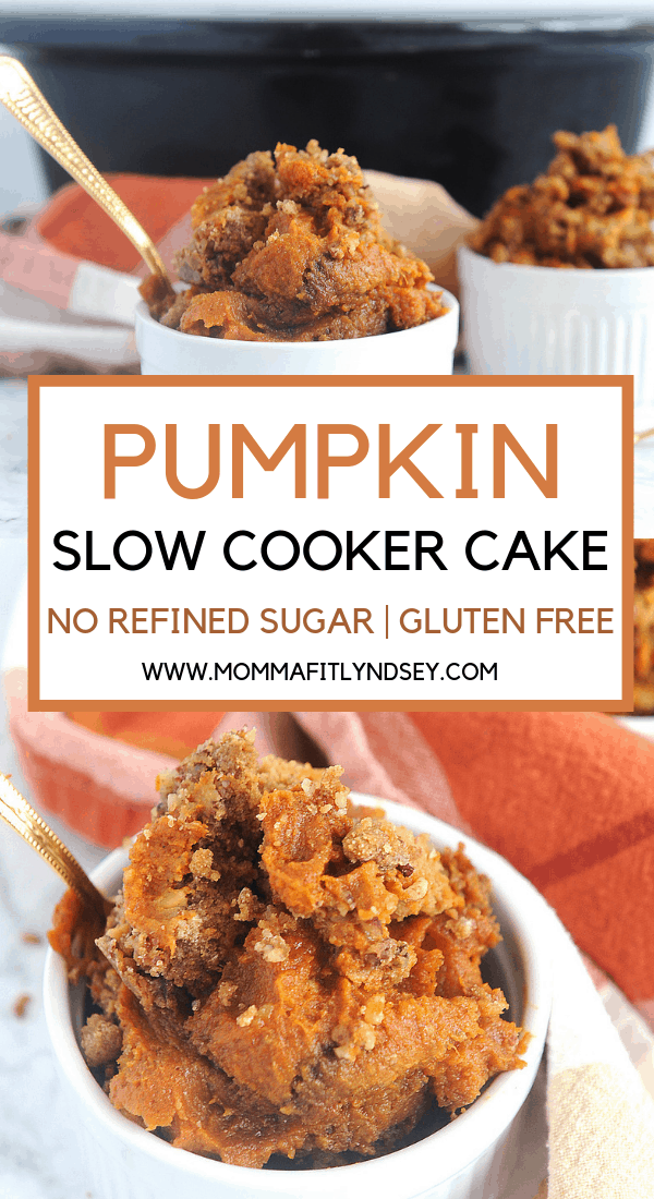 healthy and easy pumpkin dump cake can be made in the slow cooker or crockpot.  Gluten free and made with yellow cake mix that is homemade