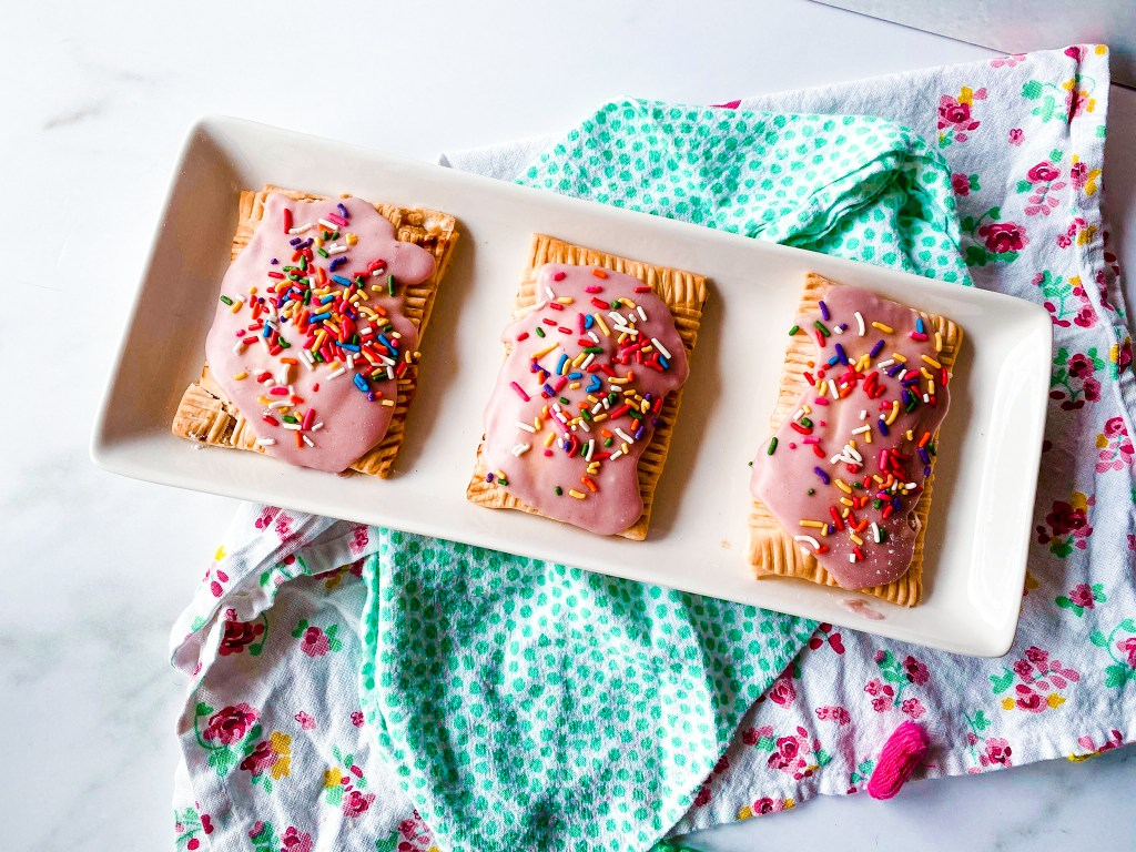 homemade pop tarts with pink icing and sprinkles