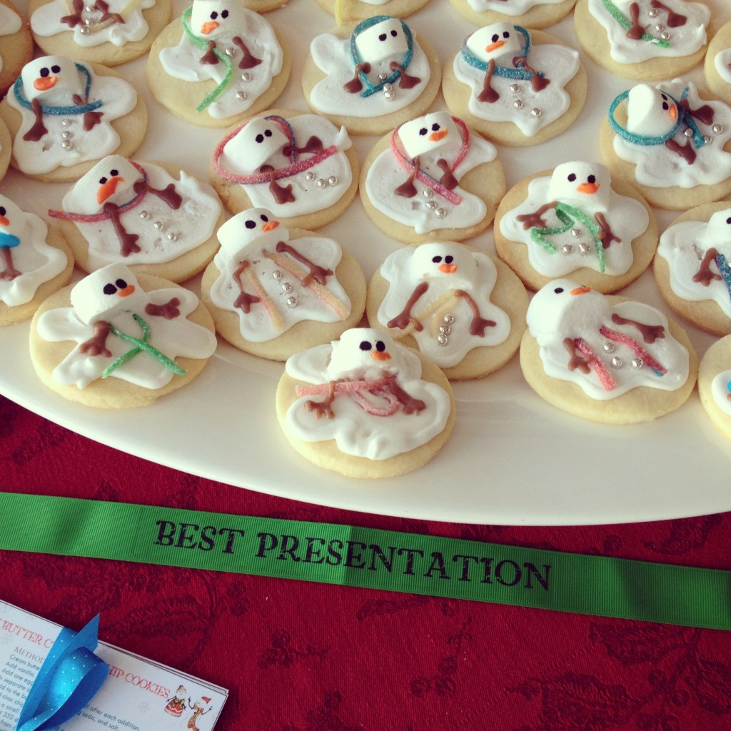 "My baby girl, Gia, brought home the prize for BEST PRESENTATION with her ""Melted Snowman Sugar Cookie."""