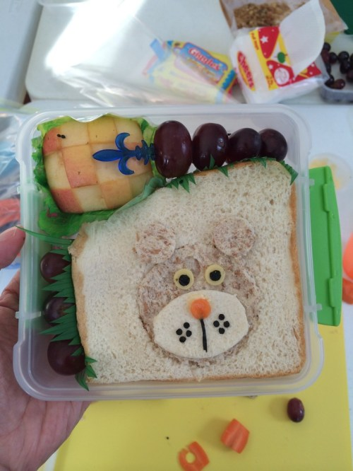 Our second bento was a sandwich. We used a combination of rolled out whole wheat and white bread for the contrasting colors in the sandwich.