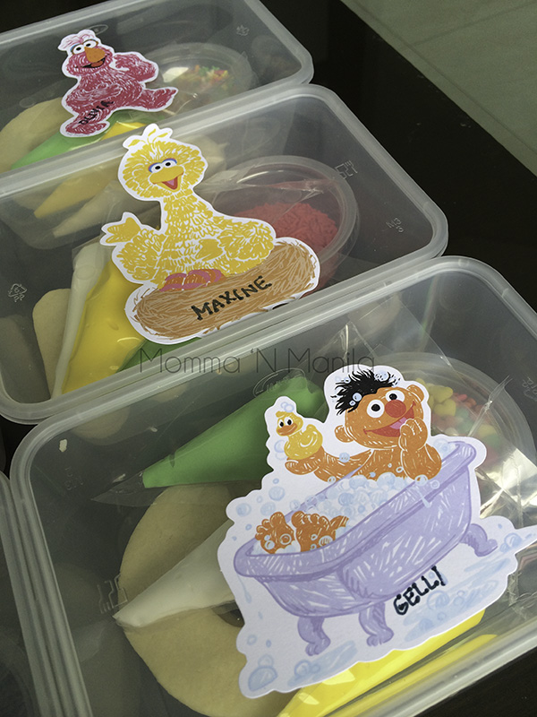 Labeling each of the kits was easy with a magic marker and some Sesame Street tags.