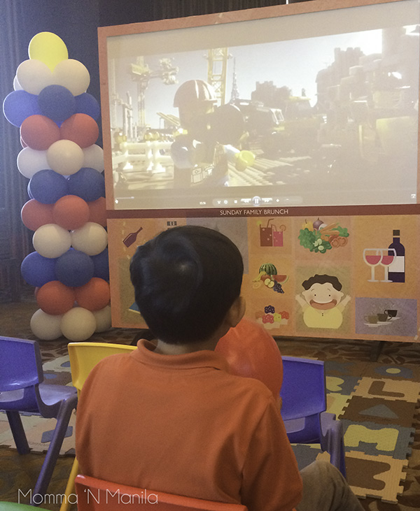 Kids can watch the movie playing for the day.