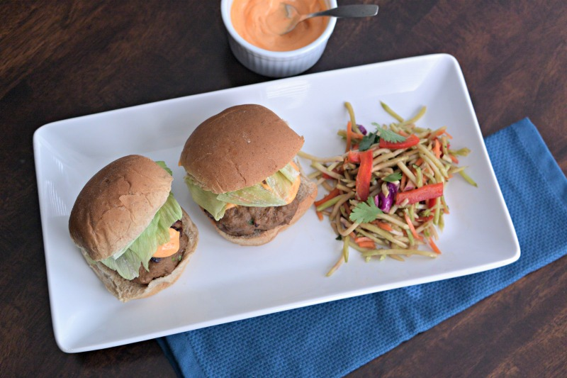 Asian Turkey Burgers with Sriracha Mayo and Broccoli Slaw
