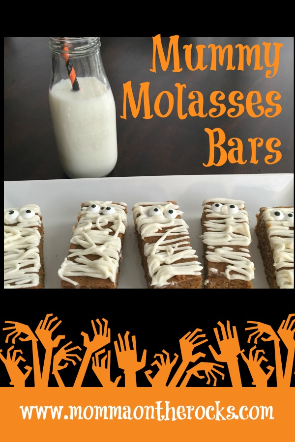 Easy to make, fun to decorate dessert bars with a touch of molasses. Not too sweet and  perfect for Halloween or all fall long! #molasses #iced #easy #oldfashioned #halloween #dessertbars