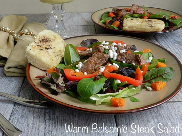 Warm Balsamic Steak Salad with Honey Mustard Dressing