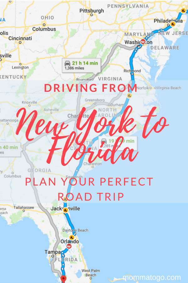 Florida Driving Map.Best Tips For Your New York To Florida Drive Momma To Go Travel