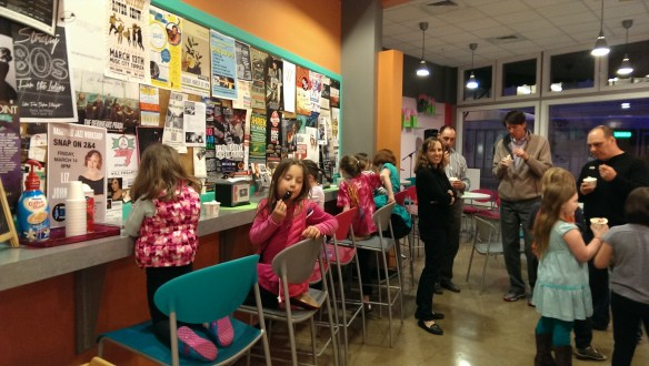 We took up the whole counter at the fro yo joint.
