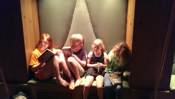 Snuggled in a cubby waiting for the show to begin.