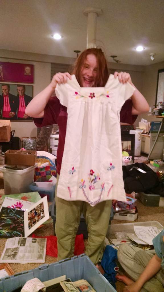 One of Monkey's favorite dresses that Grandma brought her from Mexico. It used to drag on the ground.