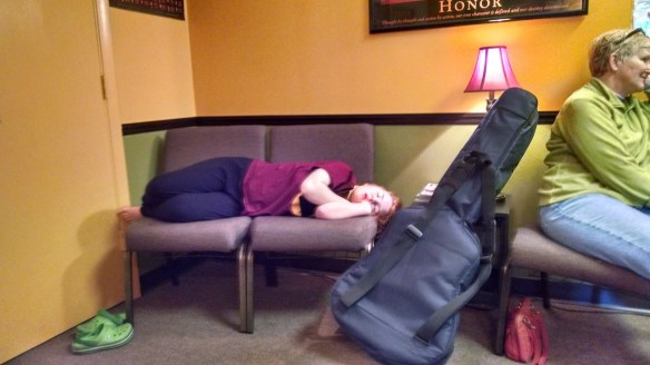 Monkey was exhausted before her music lesson.