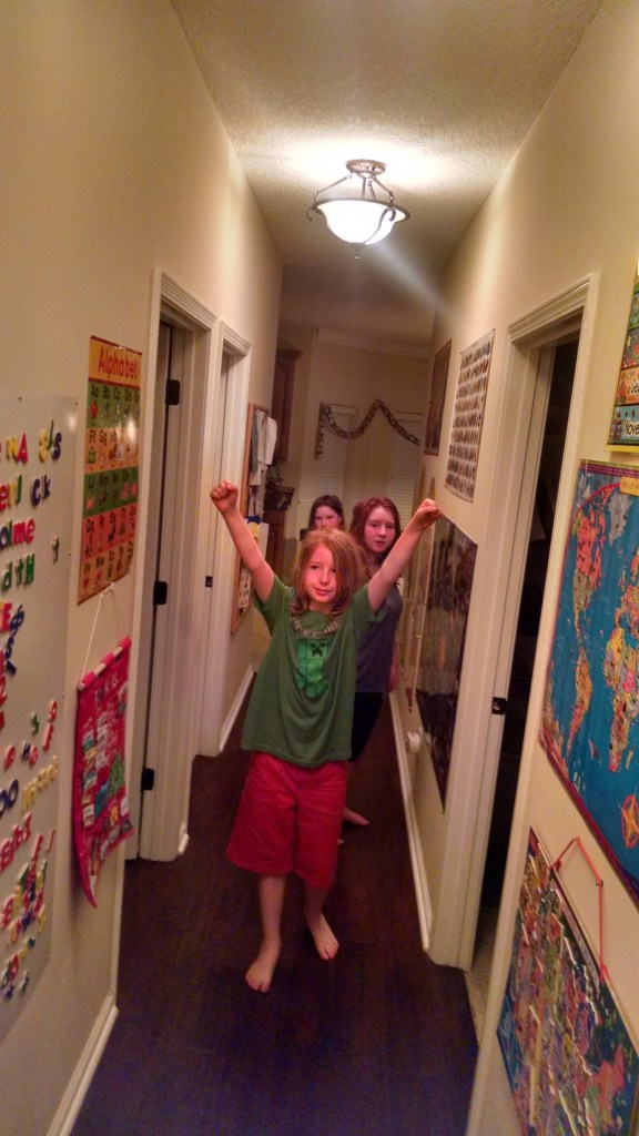 """The """"homeschool hallway"""" that inspired us to put up more posters."""
