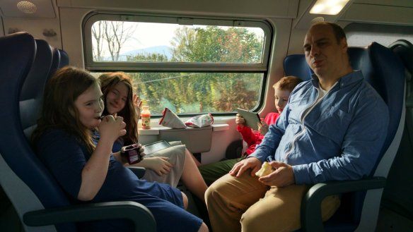 """Settled in on our first """"regional"""" train from Lucca to Florence (Firenze.)"""