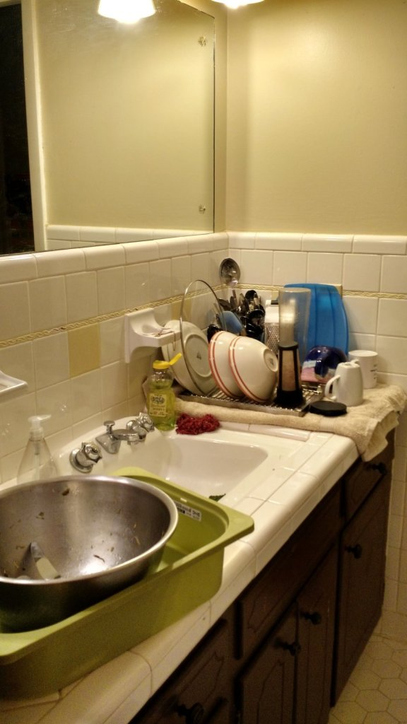 The bathroom has become the kitchen sink.