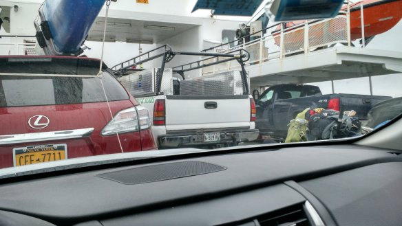 We were playing tetris on the ferry on the way out.