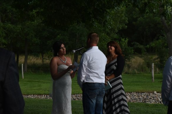 Tearing up during their vows.