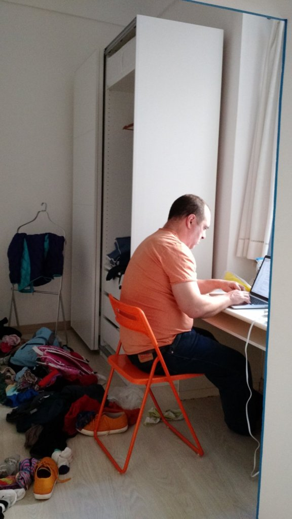 He matched his shirt to his chair, which I'm sure helped his productivity.
