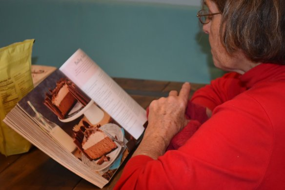 Nonni reading up on the recipes.