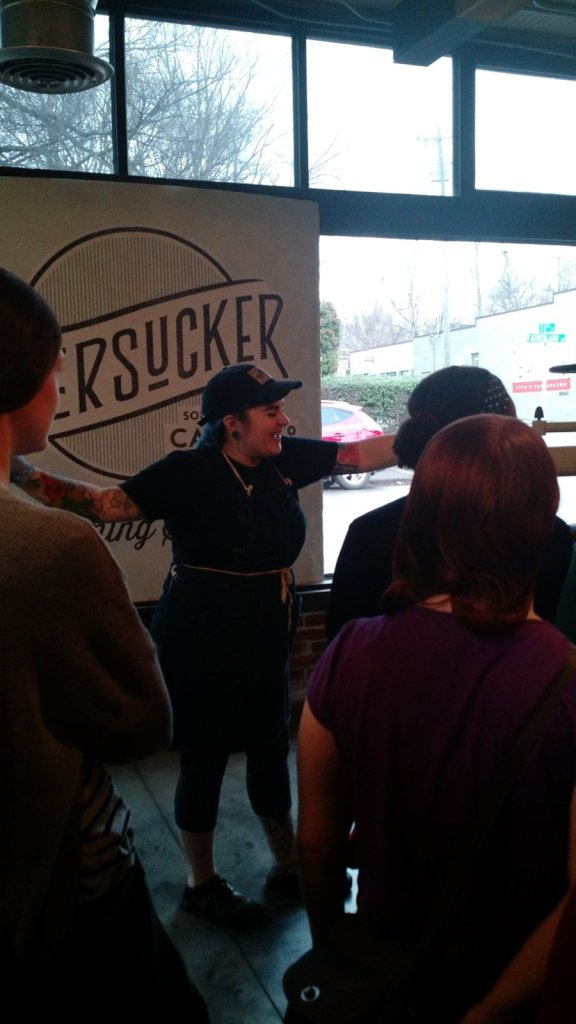 Our tour guide was interesting and fun. She moved to Nashville only 4 months ago to work for Olive and Sinclair after tasting their white chocolate at a chocolate show out West.