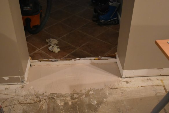 The leveler I poured by the door so it had time to dry before we got to this section.