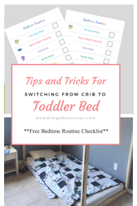 Tips and tricks for switching a toddler from crib to toddler bed.