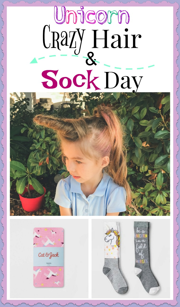 Crazy hair and sock Day- http://www.mommininapinch.com/unicorn-crazy-hair-and-socks/ #unicornhair #crazyhair #crazysockday