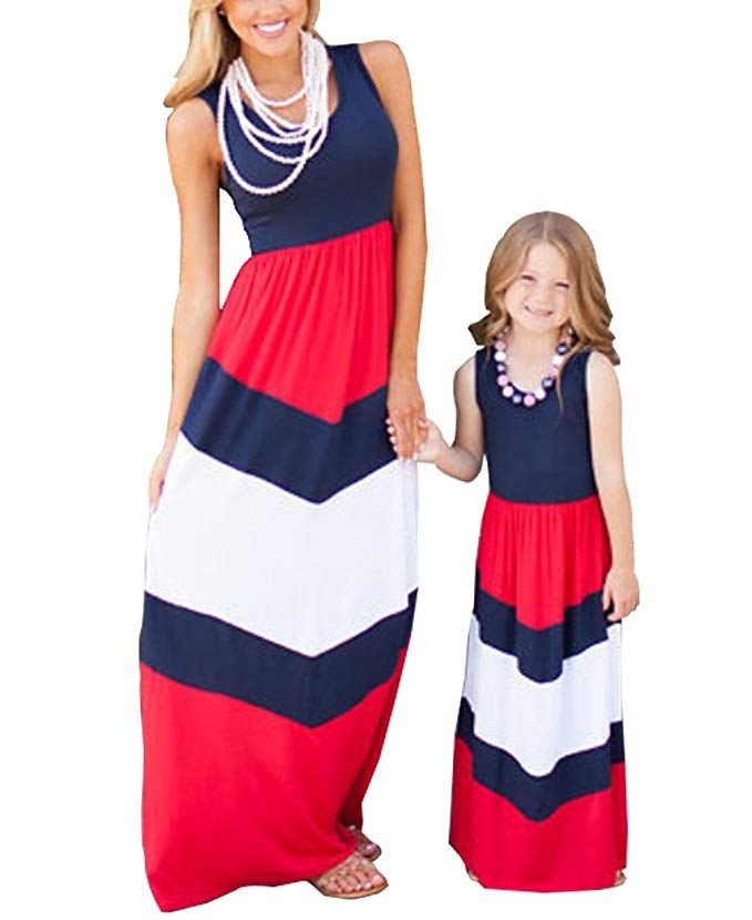 Red, white, and blue chevron Mommy and me Maxi dress- www.mommininapinch.com