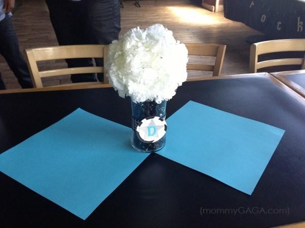 Rock-a-bye baby shower simple flower centerpiece