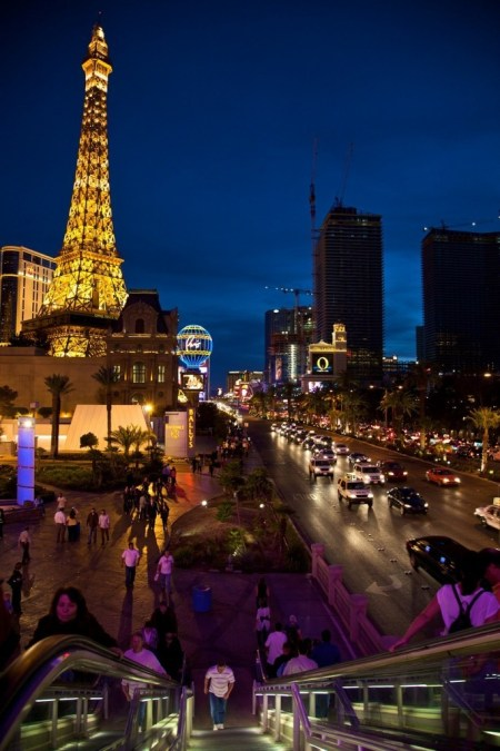 View of Las Vegas Strip, Paris and Bellagio Hotels