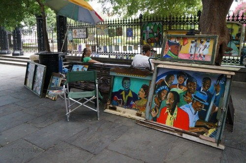 street vendors in Jackson Square, New Orleans