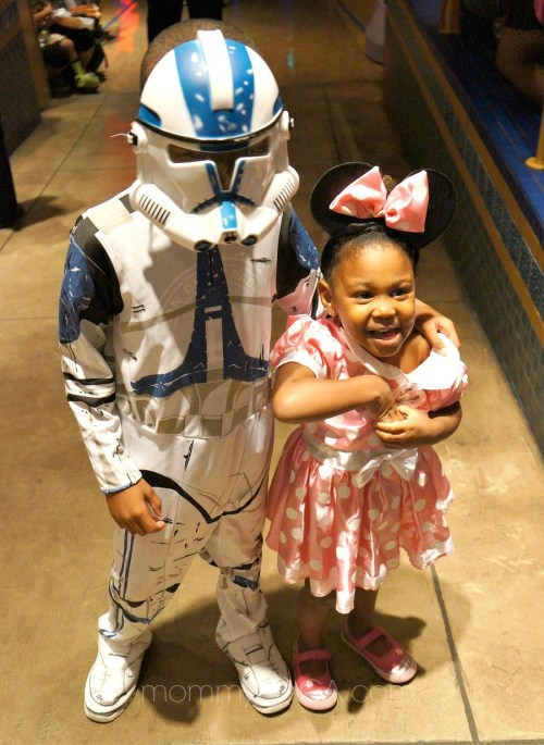 Kids in Halloween costumes, Minnie Mouse and Star Wars Storm Trooper