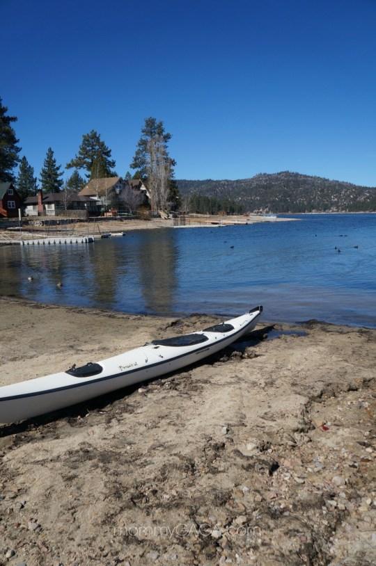 Abandoned kayak overlooking Big Bear Lake