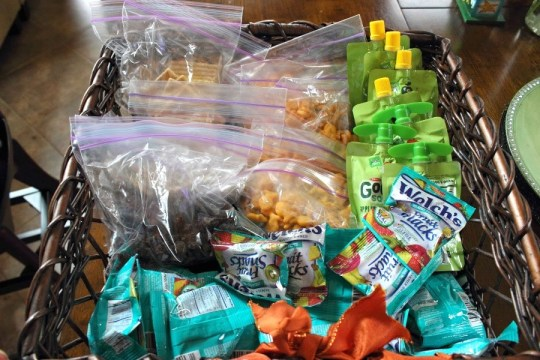 Basket of snacks for toddlers