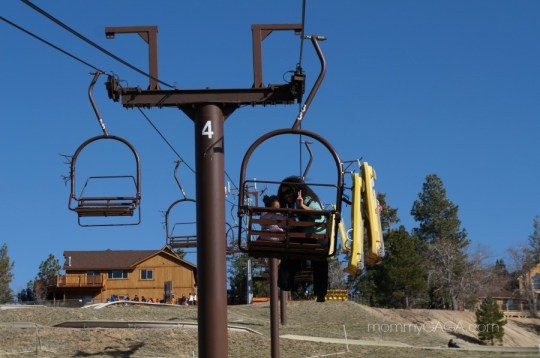 Going up the ski lift to ride the Alpine Slide in Big Bear