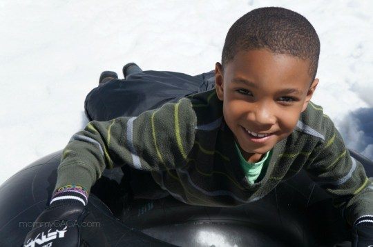kids snow play and inner tube slides, Big Bear, CA