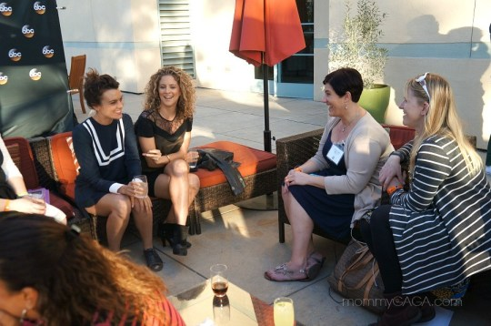 Frankie Shaw and Alexis Carra from Mixology chatting with bloggers Tara Alonzo Salinas of Tripping With Tara and Louise Bishop of Mom Start