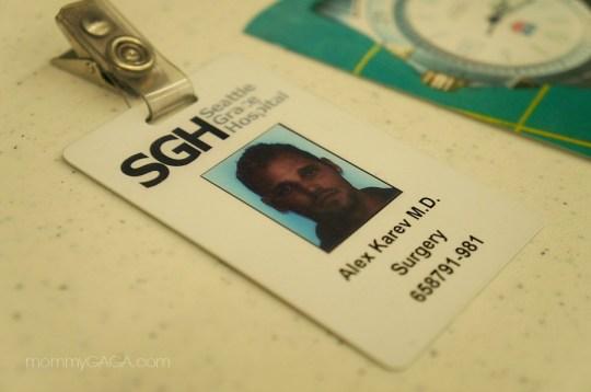 Grey's Anatomy Set, Dr. Alex Karev hospital name tag