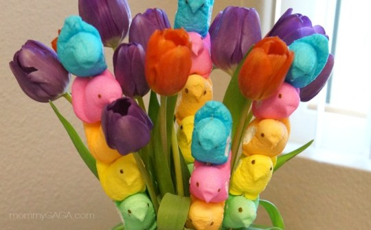 Tulips and PEEPS Easter Bouquet