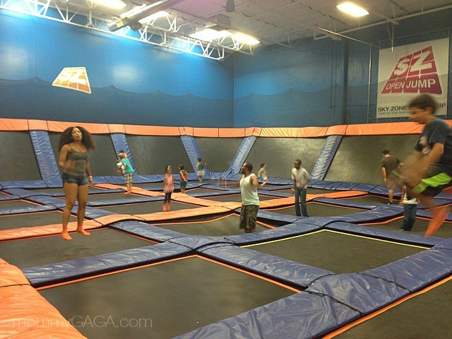 Jumping on trampolines at Sky Zone