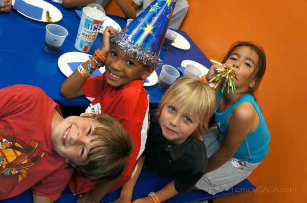 Kids at a Sky Zone Birthday party